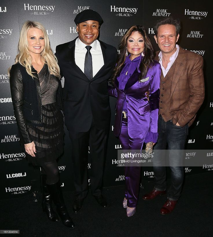 Actors Monica Potter, LL Cool J and LaToya Jackson and TV producer Mark Burnett attend the Hennessy Toasts Achievements In Music event with GRAMMY Host LL Cool J and Mark Burnett at The Bazaar at the SLS Hotel Beverly Hills on February 9, 2013 in Los Angeles, California.