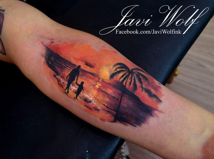 Tatuaje De Padre E Hijo Caminando Tattoo Art