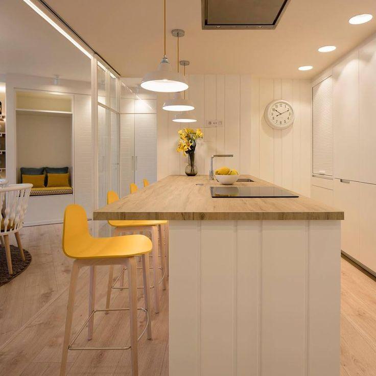 Diseo interior de cocina en blanco encimera imitacin
