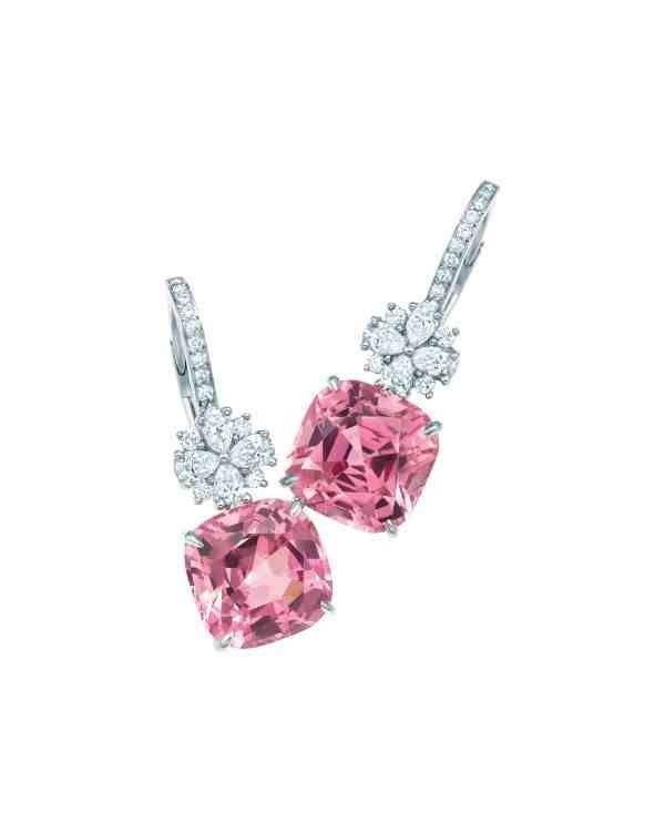 Tiffany & Co. Pink Spinel Diamond Drop Earrings. Spinel: magnesium, aluminum, & oxygen. The pink color comes from traces of chromium