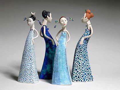 Ceramics by Sue Crossfield at Studiopottery.co.uk - Four Figures. Created in 2006.