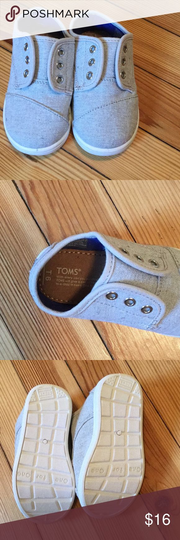 Toms kids sneakers 6T Beautiful grey Toms kids sneakers-New without tags-never worn! Toms Shoes