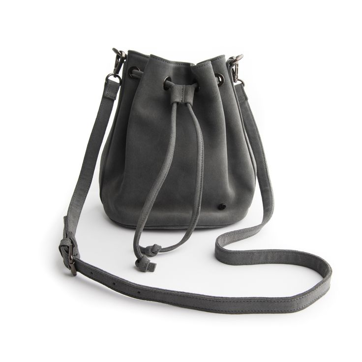 Stitch and Hide - Olivia Bucket Bag  - Dove Grey Suede LIMITED EDITION, $249.95 (http://www.stitchandhide.com/olivia-bucket-bag-dove-grey-suede-limited-edition/)