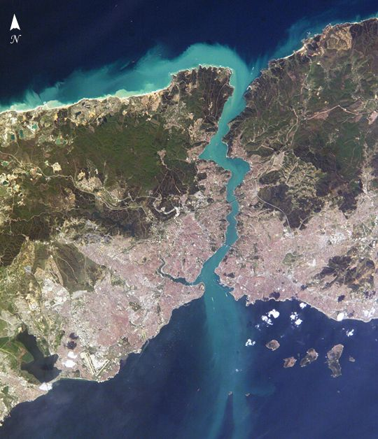 #Istanbul, #Turkey - April 16, 2004 (NASA). EUROPE is on the left. ASIA is on the right. In the middle is the famous Bosporus.