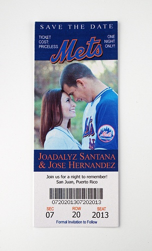 New York Mets - Wedding Save the Date Ticket... Could be used as an invite?! This is the cutest damn thing I've ever seen!!!!! (Except, no mets!)