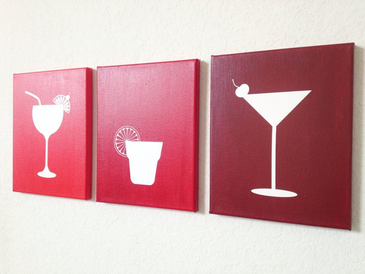 Cocktail Ombre Canvas Art by adapperduck on Etsy