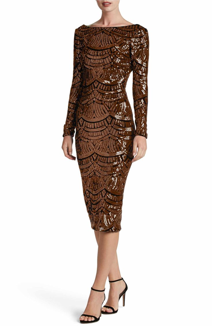 Main Image - Dress the Population Emery Scoop Back Sequin Midi Dress