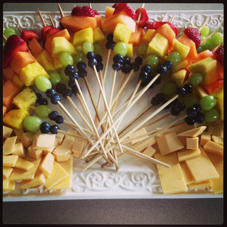 Rainbow themed fruit and cheese platter