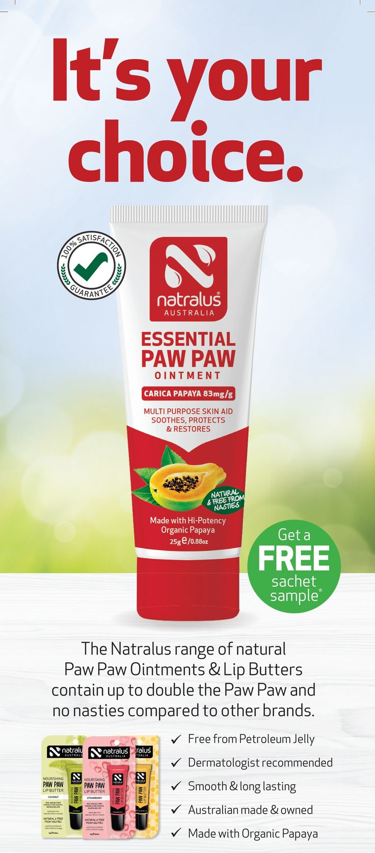 Free Sample of Natralus Essential Paw Paw Ointment - http://sleekdeals.co.nz/deals/2017/9/free-sample-of-natralus-essential-paw-paw-ointment.aspx