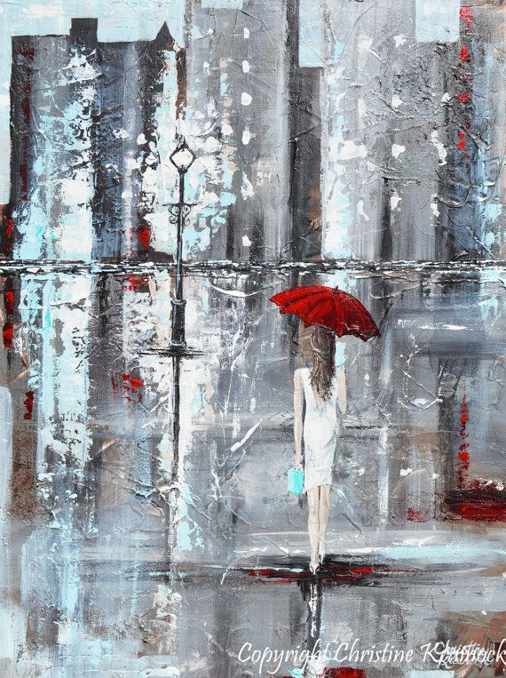 A Trip to Tiffanys Large Giclee PRINT CANVAS PRINT of Original Abstract Painting Girl Red Umbrella walking in rain city Palette Knife Paintings