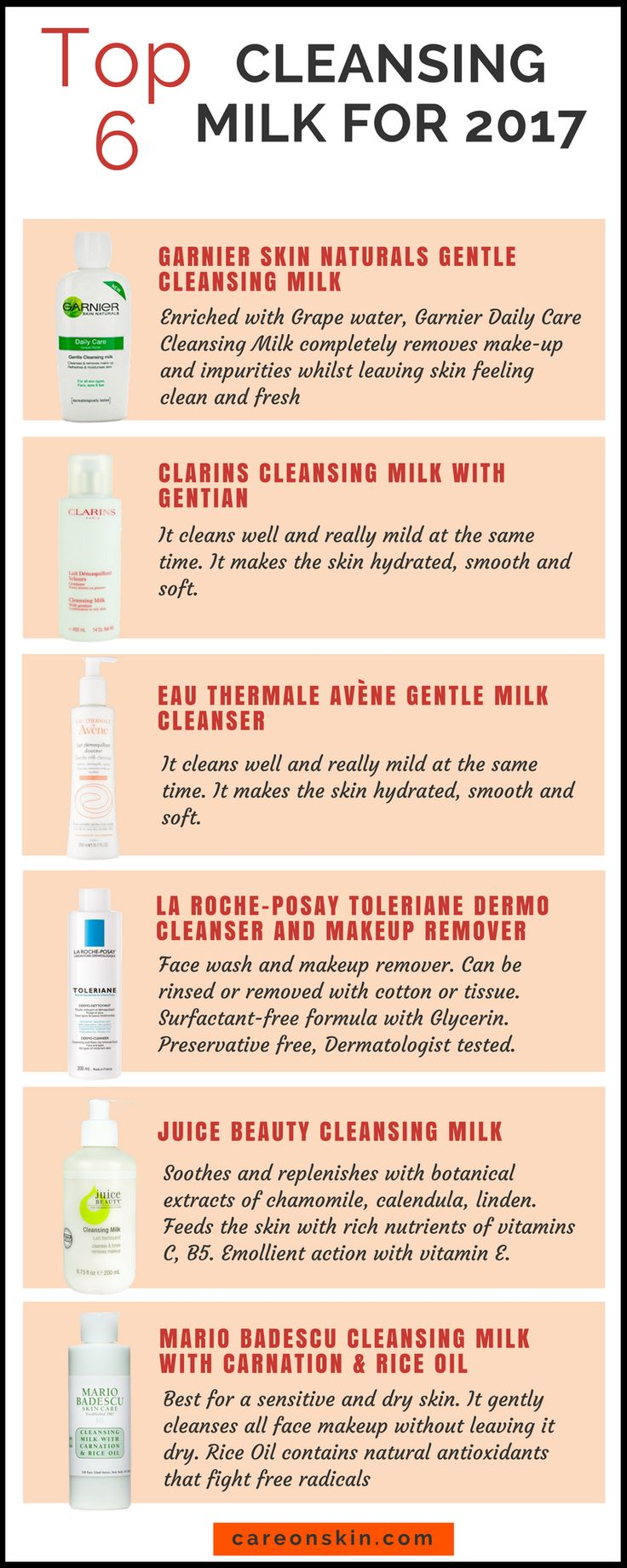 Top 6 Cleansing Milk for 2017. Cleansing milk for face. Cleansing milk for dry skin and oily skin. Best for Normal, Dry, Sensitive and/or Combination Skin. List of milk cleanser products for Skincare Read More ->https://careonskin.com/top-6-cleansing-milk-for-2017/