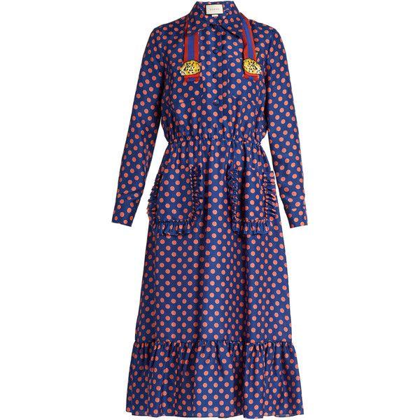 Gucci Polka-dot print silk dress (£2,270) ❤ liked on Polyvore featuring dresses, gucci, purple, midi dress, blue neck tie, silk neck ties, blue dress and purple cocktail dresses