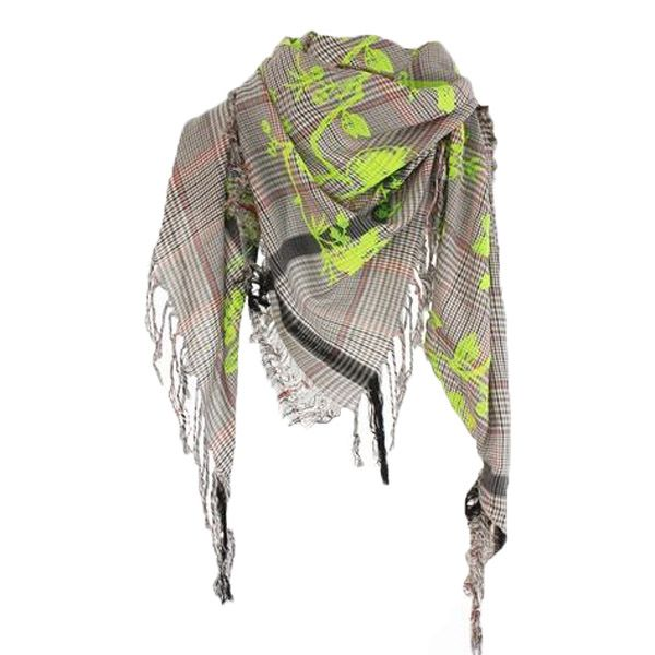 Fun and bright tweed scarf with birdtoile design in acid yellow flock. #leighandlucca #scarf #fashion #accessories #outfit #shawl #clothes #trends #outfitidea #accessoryideas #casual #everyday #cute #shopping #shoponline #fun #brand