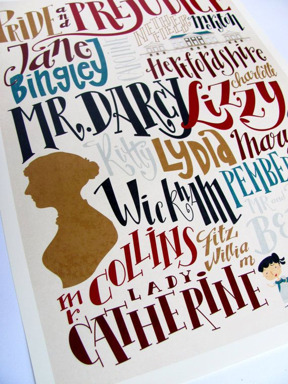 """Jane Austen - Pride and Prejudice print - characters and places by """"Pemberley Pond"""" (Etsy)"""