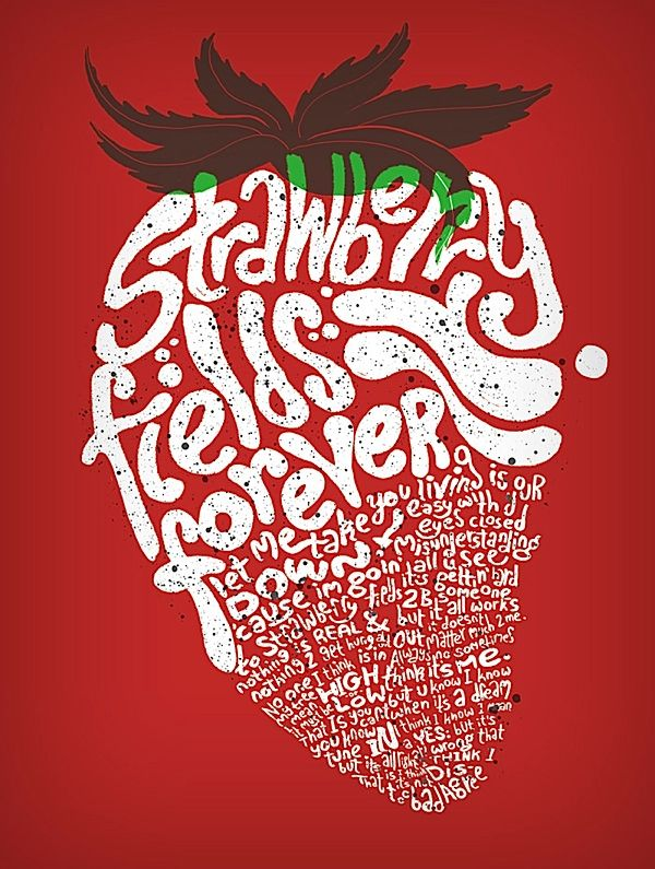 #strawberry #red #typography