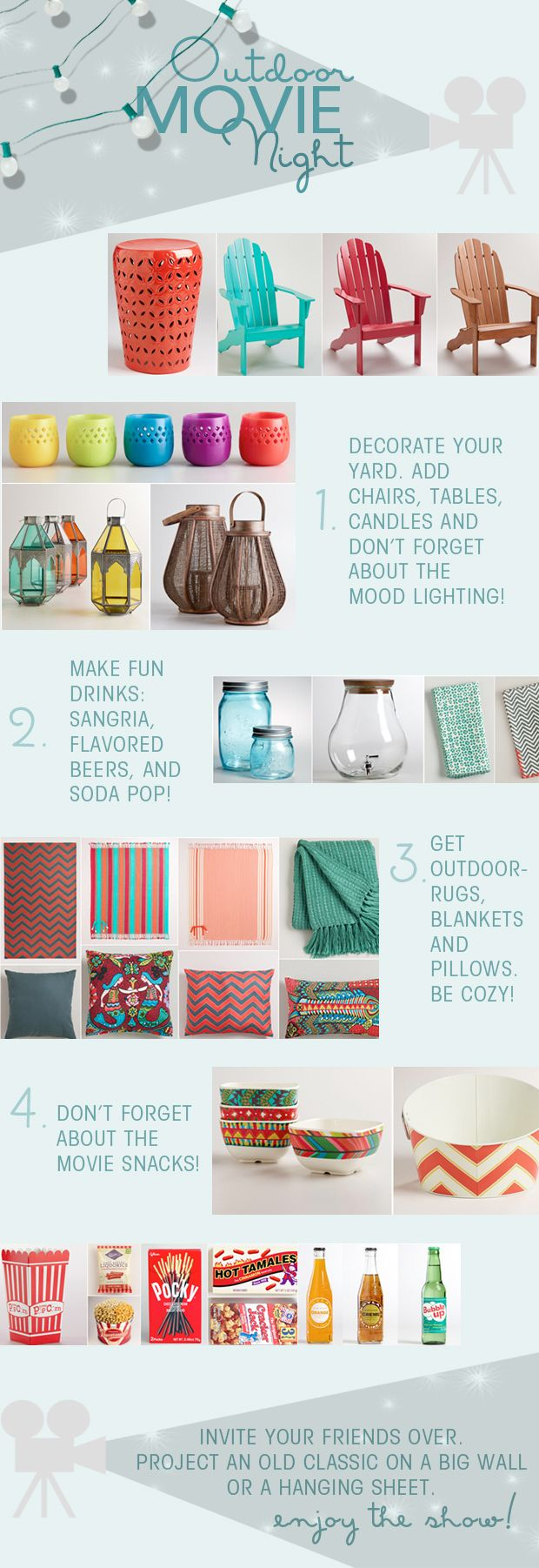 how to make an outdoor movie night! (World Market Pinterest followers can enter for a chance to win a Backyard Theater System and a 1000$ World Market gift card--check the blog for details!)