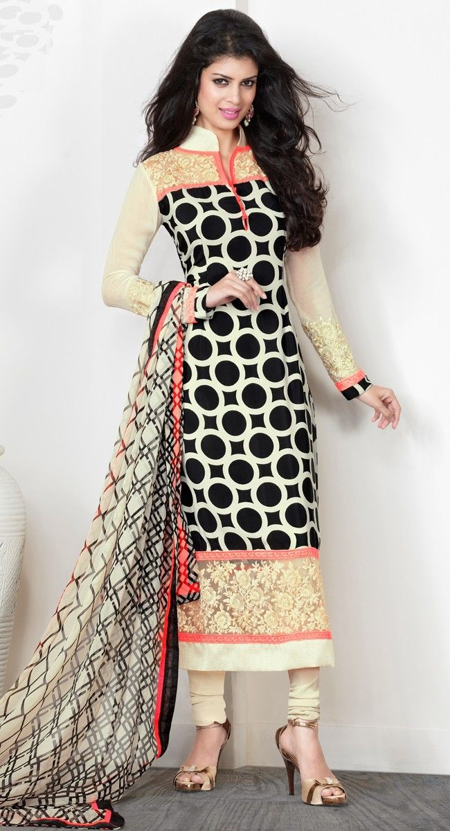 Vivacious Black & Buttercream Salwar Kameez
