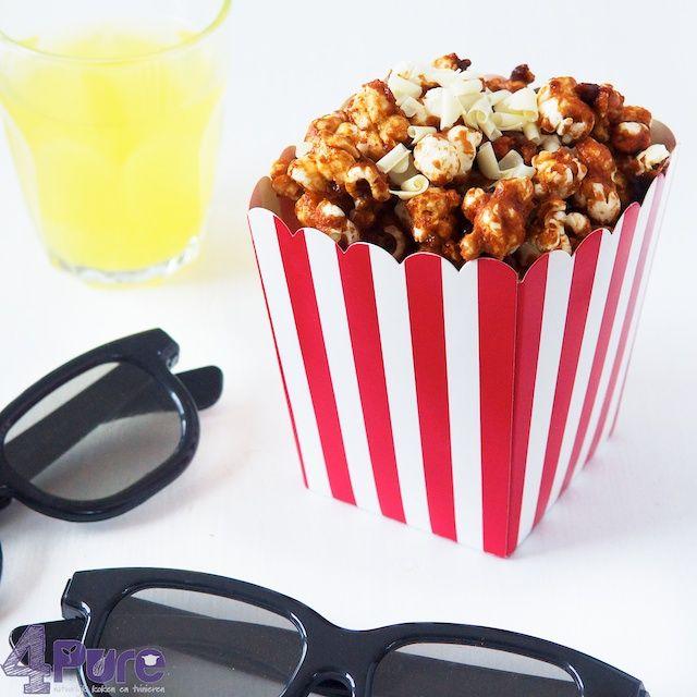 Caramel-witte chocolade popcorn