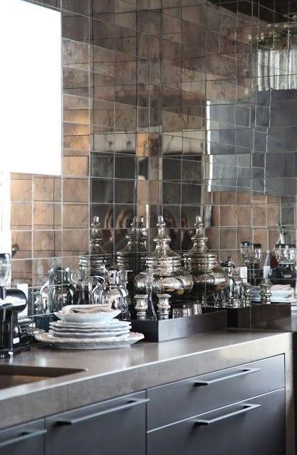 Mirror tiles as splashback in the kitchen