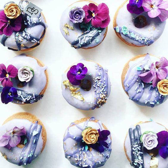 Featured Dessert: Nectar and Stone; Charming unique purple flower donut wedding dessert