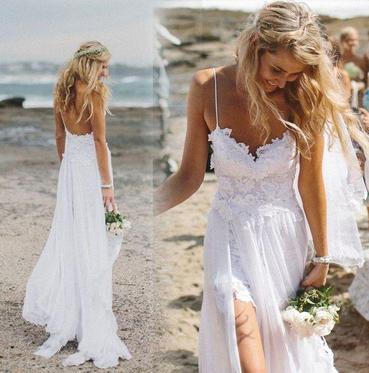 Bohemian praia vestido de noiva boho sexy backless vestidos de casamento querida lace vestido de noiva chiffon branco alcinhas 2015 em Vestidos de noiva de Casamentos e Eventos no AliExpress.com | Alibaba Group