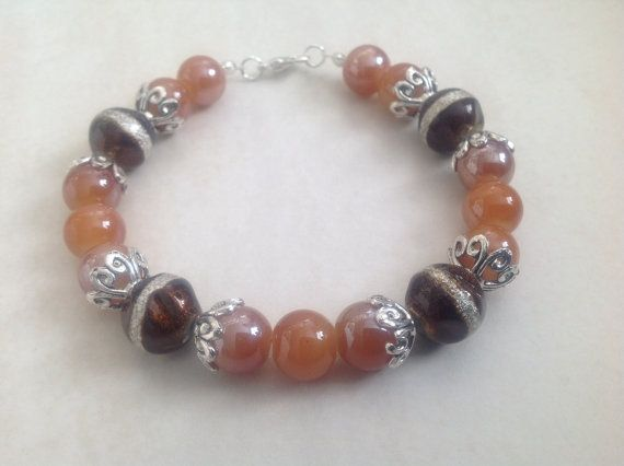 Brown Glass Beaded Bracelet Chocolate Glass by EverGracefulGifts
