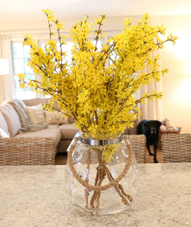DIY spring home decor. Cut some branches off my forsythia bush and added them to this gorgeous glass container from Tj Maxx to add some color to kitchen & living room