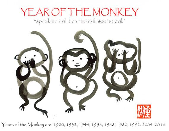 Monkey poster Three Wise Monkeys Speak no hear no see by ZenBrush