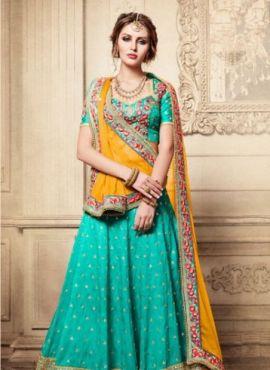 Sky Blue bridal wear ghagra choli