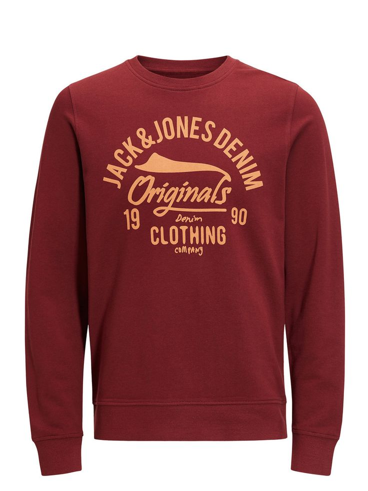 Red casual sweatshirt with chest print, 100% cotton for everyday wear | JACK & JONES