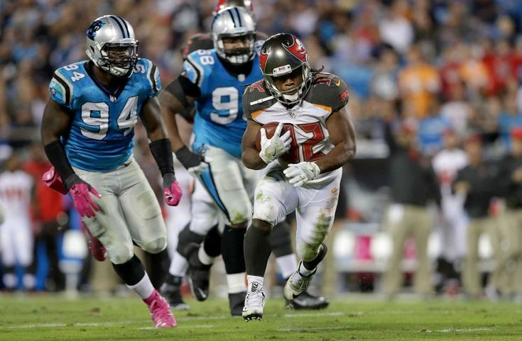 Monday Night Football: Buccaneers vs. Panthers:     October 10, 2016, 17-14, Buccaneers  -      Jacquizz Rodgers of the Tampa Bay Buccaneers runs the ball against the Carolina Panthers in the second quarter during their game at Bank of America Stadium on Oct. 10, 2016 in Charlotte, N.C.