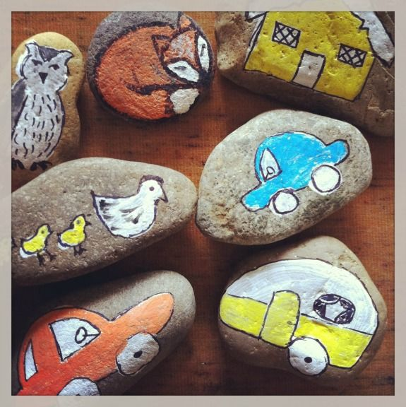 Make pictures on stones and use them alone to learn vocab or together to create a sentence or story.