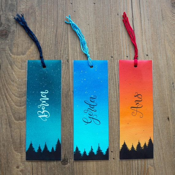 Personalised Calligraphy Bookmark Hand Lettering Original Watercolor Painting Name Galaxy Art Forest Hand Lettered Written Bookworm Reading
