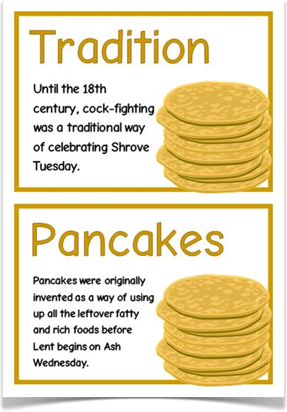 Pancake Day Fact Cards - Treetop Displays - A set of 16 A5 fact cards that give fun and interesting facts about Pancake Day/ Shrove Tuesday. Each fact appears with thematic piles of pancakes. A wonderful resource for discussing, displaying and activities! Visit our website for more information and for other printable resources by clicking on the provided links. Designed by teachers for Early Years (EYFS), Key Stage 1 (KS1) and Key Stage 2 (KS2).