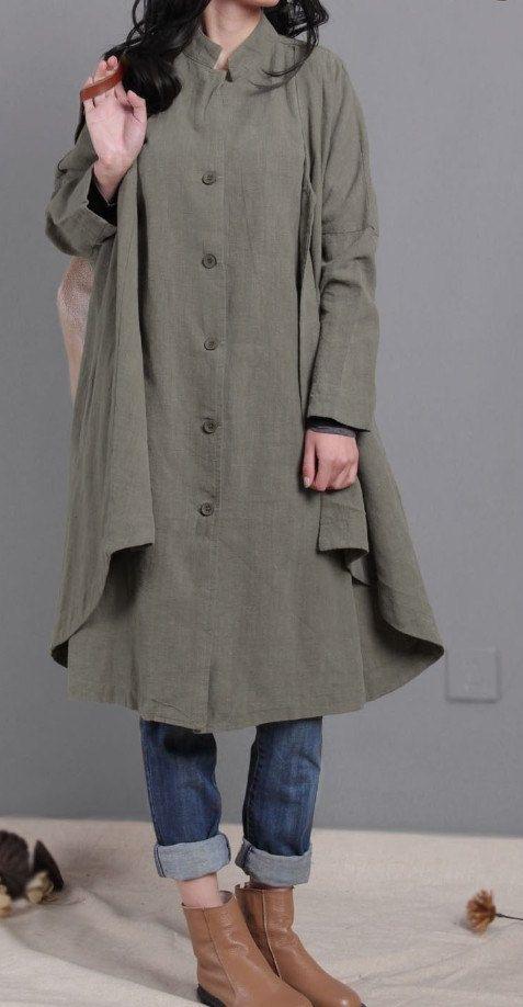 women linen coat army green Coat Single breasted by dreamyil, $108.00