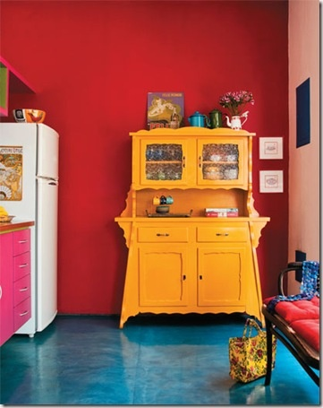 a boldly tropical kitchen & yellow hutch: Colour, Decor, Ideas, Blue Floor, Red Wall, Colors, Bold Color, Colorful Kitchens, Vintage Furniture