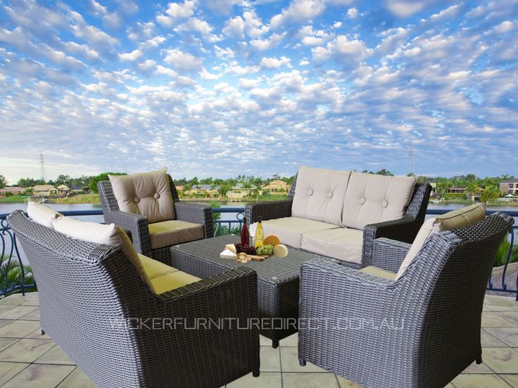 Oxford 6 Seater Wicker Outdoor Furniture Lounge
