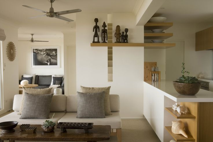 Living Space with african artefacts. Brooke Aitken Design.