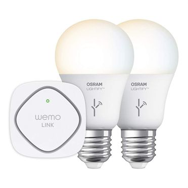 With the WeMo + OSRAM LIGHTIFY™ Tunable White Starter Set, you can tailor the warmth and intensity of your home's lighting using your mobile device. The set also comes with a WeMo Link, which can be paired with up to 50 bulbs, making it ideal for anyone interested in creating an automated home lighting system.