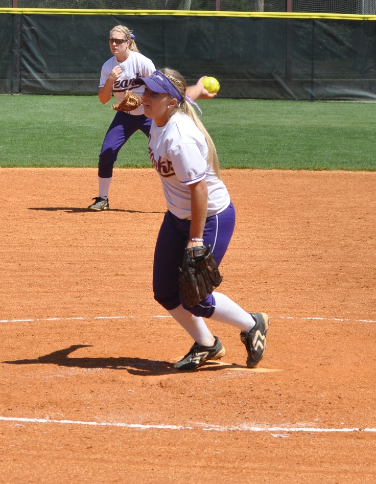 ASC Freshman of the Year Amber Rollins in action against UT-Tyler. Rollins led the ASC in strikeouts, innings pitched, and complete games