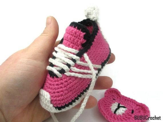 Crochet baby sneakers Baby Girl Shoes Pink Baby от BUBUCrochet