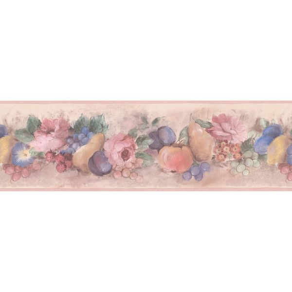 Brewster Peach Fruit Floral Wallpaper Border 499 00410 Orange Plastic