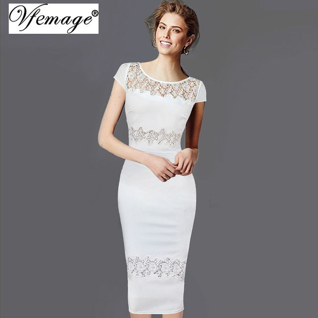 Vfemage Womens Elegant Vintage Hollow out Crochet Casual Party Pencil Bridesmaid Mother of Bride Evening Bodycon Dress 2126