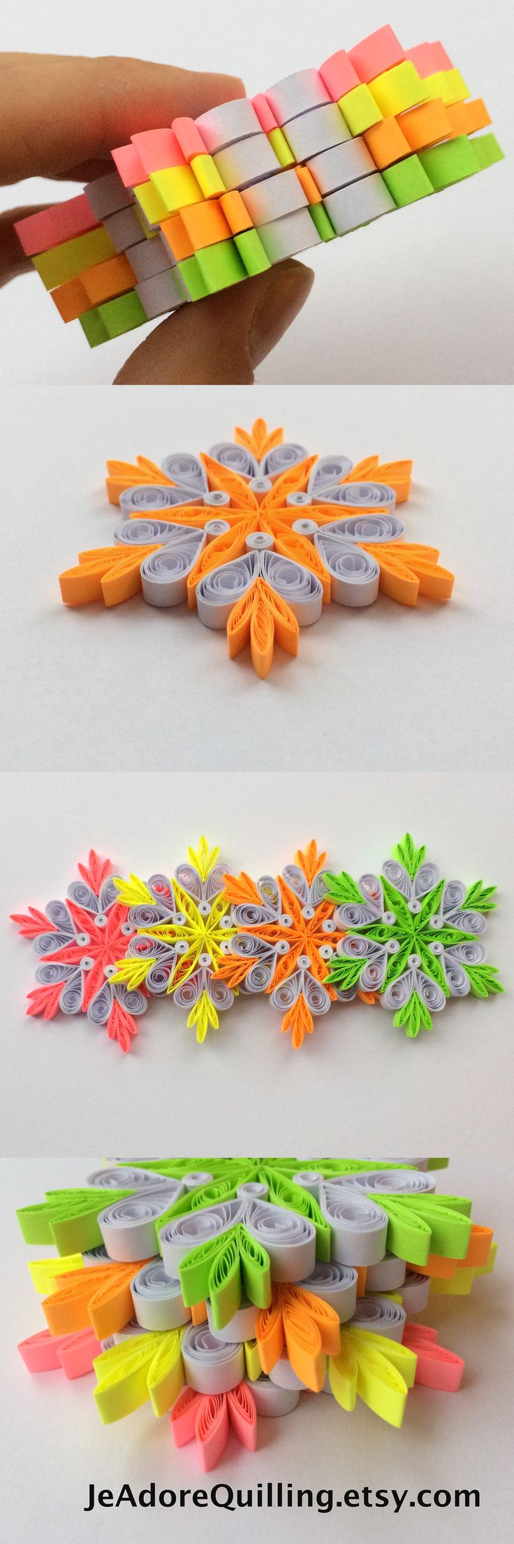 Snowflakes Neon Yellow Pink Green Orange White Christmas Tree Decor Winter Ornament Gift Toppers Fillers Office Corporate Paper Quilling Art