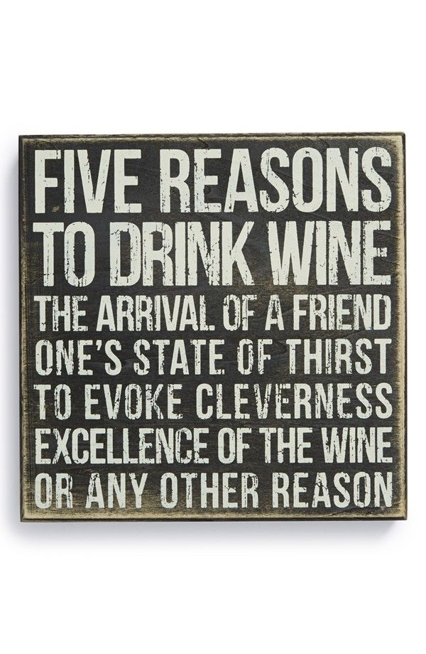 Primitives by Kathy '5 Reasons to Drink Wine' Box Sign | Nordstrom