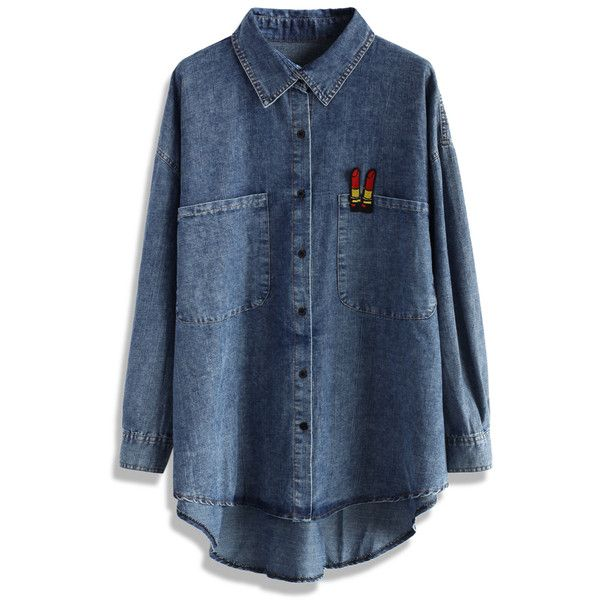 Chicwish Lipsticks Oversize Denim Shirt ($42) ❤ liked on Polyvore featuring tops, shirts, blue, chicwish, button-down shirts, blue top, denim button down shirt, blue shirt and button up shirts