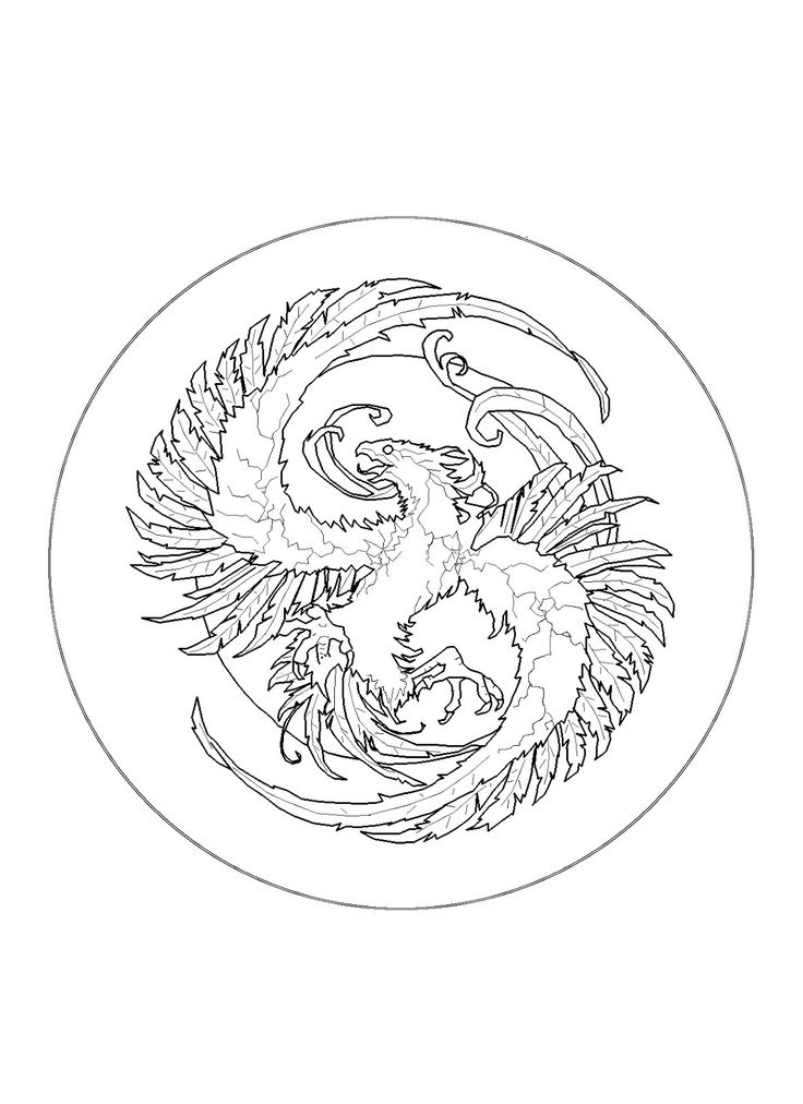 Coloring Page World Fiery Phoenix