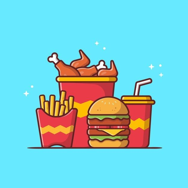 Download Burger With Fried Chicken French Fries And Soda Cartoon Vector Icon Illustration Fast Food Icon For Free Organic Food Logo Fried Chicken Chicken Logo