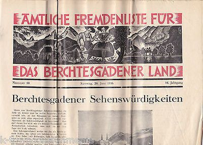 GERMAN NEWS PAPER 1936 VINTAGE GERMANY GRAPHIC TRAVEL NEWSPAPER