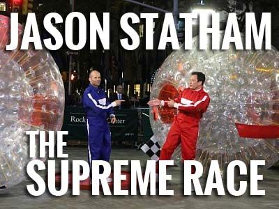 Take Jason Statham. Add a human hamster ball. And an eager, famous opponent. What ensues has epic proportions. This is what happened during the promotion of Statham's latest movie: http://www.zorbingtime.com/human-hamster-ball/